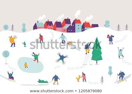 Conjunto família inverno ao ar livre atividades vetor Foto stock © robuart