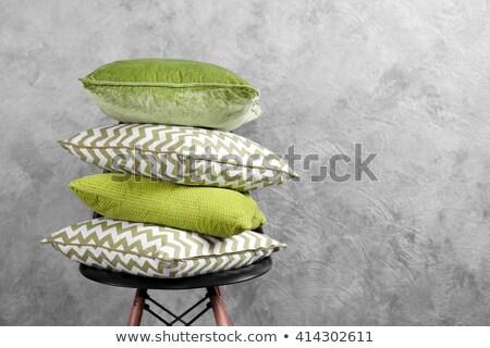 Photo stock: Vert · oreillers · président · lumière · fond · hôtel