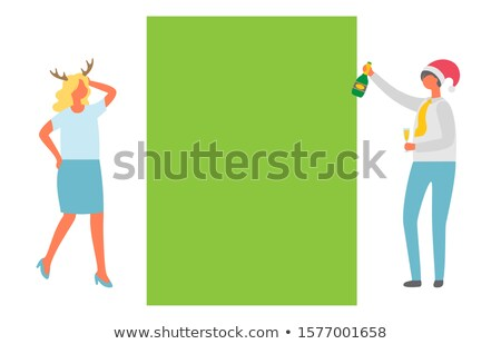 Christmas Party, Dancing Man, Woman in Horns, Fest Stok fotoğraf © robuart