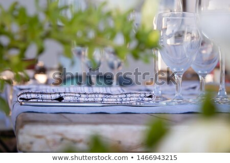 Table appointment setting at restaurant fragile wine or water gl Stock photo © amok