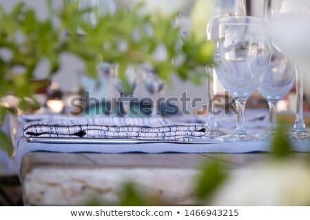 geserveerd · banket · tabel · wijnglazen · bril · partij - stockfoto © amok