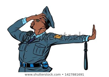 Afryki komisarz gest odmowa wstyd pop art Zdjęcia stock © studiostoks