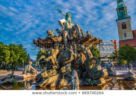 Szökőkút Berlin Németország nő égbolt város Stock fotó © borisb17