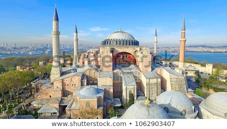 Minaret istanbul Turkije blauwe hemel hemel Stockfoto © boggy