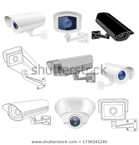 Zijaanzicht cctv camera geïsoleerd witte technologie Stockfoto © magraphics