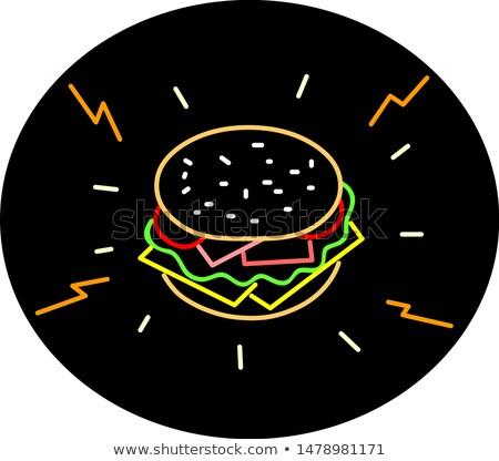 Cheeseburger retro neonreclame ovaal retro-stijl illustratie Stockfoto © patrimonio