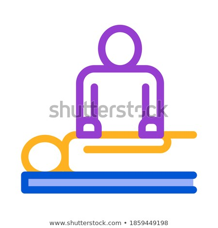 orthopedic masseur with patient silhouette vector stock photo © pikepicture