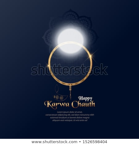 karwa chauth festival of india poster design with diya Stock photo © SArts