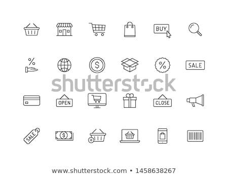 ikon · online · bolt · kosár · lineáris · stílus · vásár - stock fotó © decorwithme