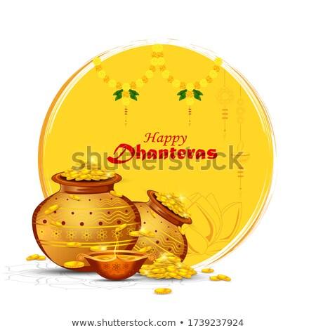 happy dhanteras hindu festival with golden coin pot  Stock photo © SArts