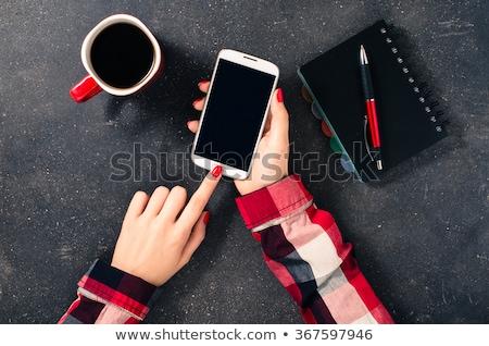 Haut vue Homme mains stylo portable Photo stock © pressmaster