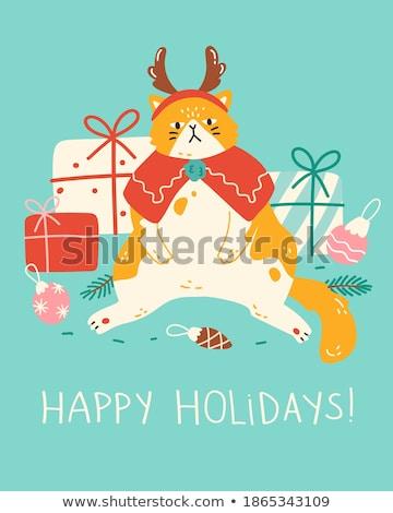 Komik dizayn hayvanlar Noel yalıtılmış beyaz Stok fotoğraf © balasoiu