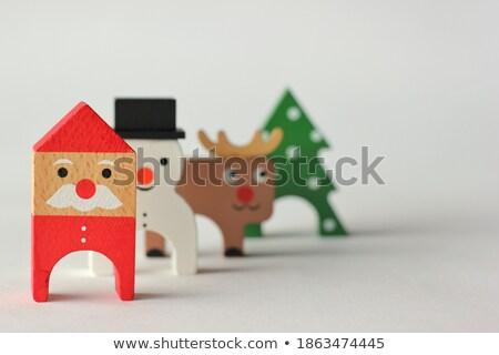 Funny snowman renifer czerwony nosa Zdjęcia stock © nito