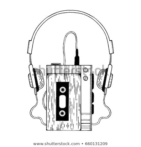 Hordozható lemezjátszó fejhallgató vektor ikon vékony Stock fotó © pikepicture