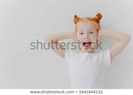 Meisje mond oren Stockfoto © vkstudio
