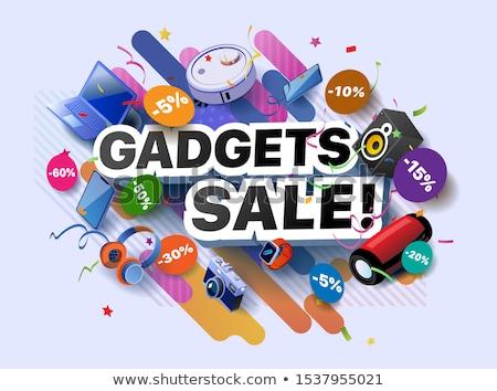 Kütyük számítógép bolt hirdet poszter vektor Stock fotó © pikepicture