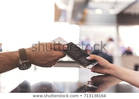 senior woman with passport and airplane ticket Stock photo © dolgachov