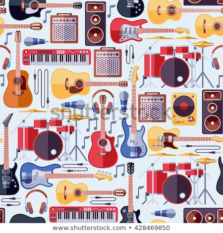 Colorful Musical Instrument Flat Seamless Pattern Stock photo © barsrsind