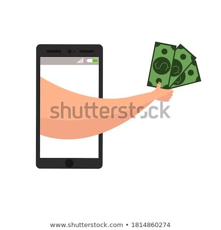 hand holding smartphone banknote payment online shopping Stock photo © yupiramos