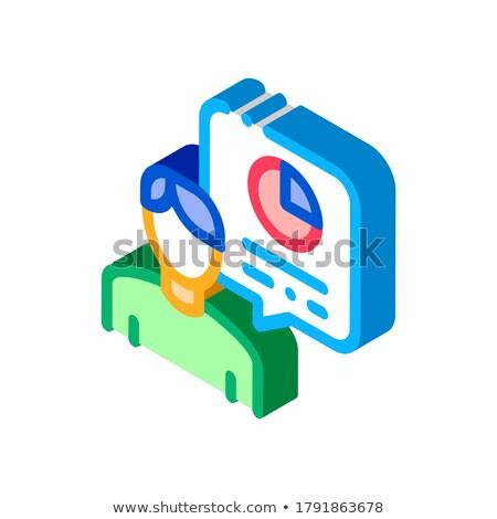 Emberi beszéd statisztika izometrikus ikon vektor Stock fotó © pikepicture
