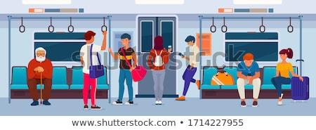 Stock photo: girl in  wagon of  metro