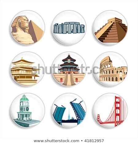 Badges ingesteld beroemd alle rond Stockfoto © sahua