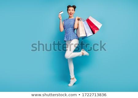 pinup · ретро · женщину · путешествия · сумку · изолированный - Сток-фото © dotshock