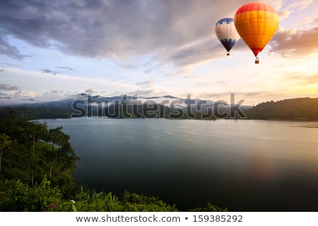 Ballons lac coucher du soleil sunrise sport nature Photo stock © Balefire9