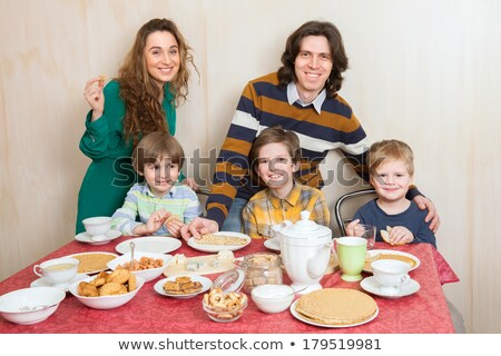 three children eating crepes Stock photo © photography33