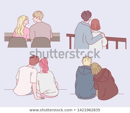 Couple sitting back to back Stock photo © photography33