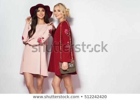 Kettő gyönyörű nők nyár ruhák stúdió Stock fotó © Pilgrimego