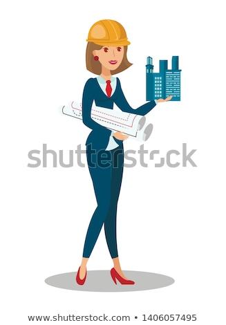 A female foreman holding blueprints. Stock photo © photography33