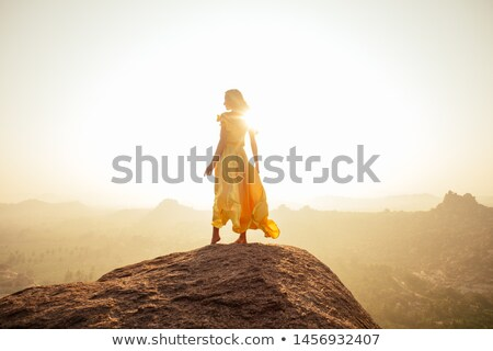brunette in waving dress Stock photo © yurok