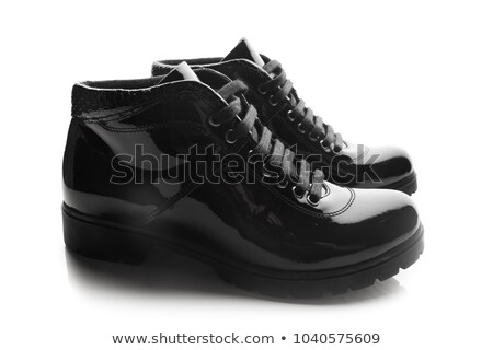 Pair of black patent leather female shoes isolated Stock photo © ozaiachin