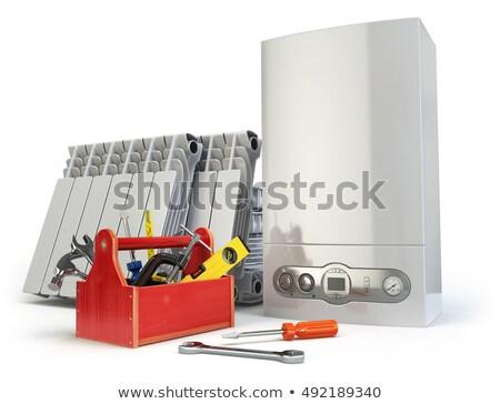 Sanitair uitrusting tools man portret studio Stockfoto © photography33