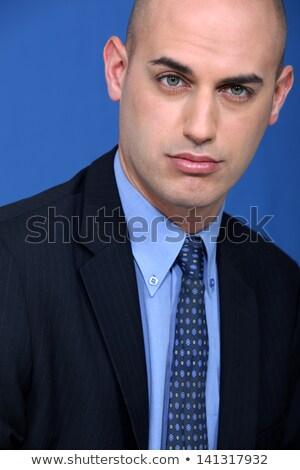 Kaal uitvoerende oog man Blauw stropdas Stockfoto © photography33