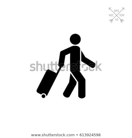 Business travel illustration - man with suitcase Stock photo © marish