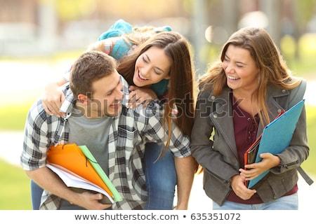 три студентов изучения парка образование девочек Сток-фото © photography33