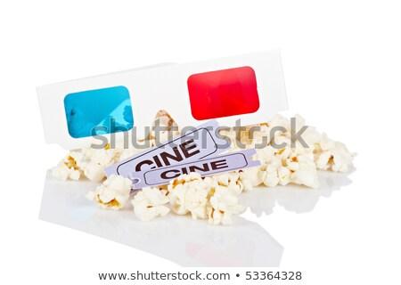 3D · bril · popcorn · twee · tickets · witte - stockfoto © broker