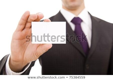 Empresarios mirando tarjeta de visita oficina empresario signo Foto stock © photography33
