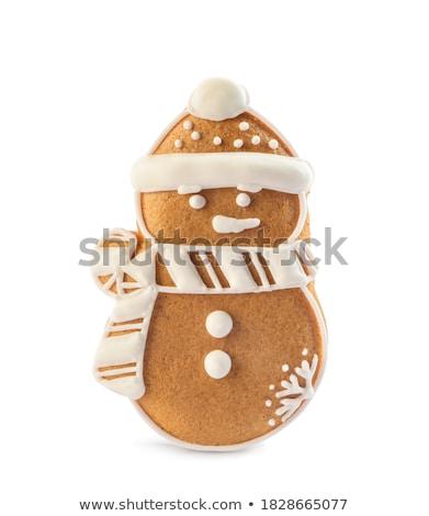 Kardan adam kurabiye yalıtılmış beyaz soğuk zencefilli çörek Stok fotoğraf © fotogal