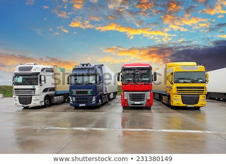Front of a lorry with blue sky Stock photo © jakatics