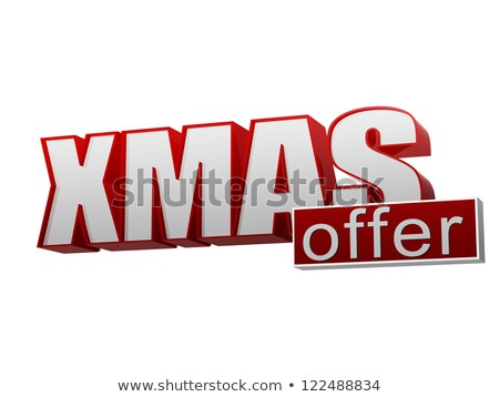 xmas offer red white banner - letters and block stock photo © marinini
