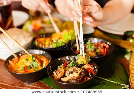 asian dish with  and sate Stock photo © compuinfoto