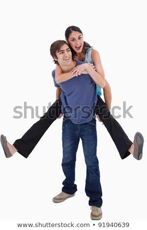 man holding woman by the shoulders against white background stock photo © wavebreak_media