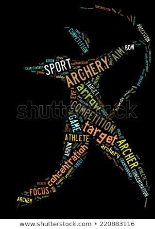 Archery pictogram with colorful words on black background Stock photo © seiksoon