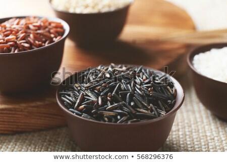 arroz · aislado · blanco · alimentos · madera · verde - foto stock © digitalr