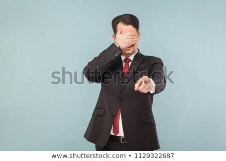 Foto stock: Não · ver · homem · vermelho · camisas · mão