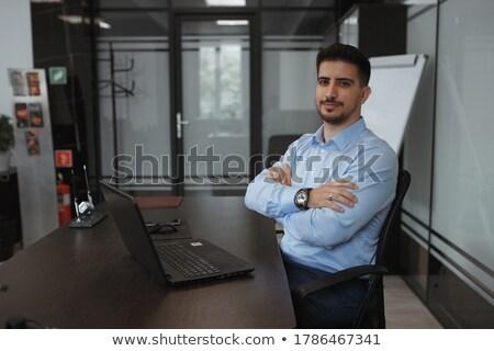 Stockfoto: Gelukkig · uitvoerende · vergadering · laptop · armen · tabel