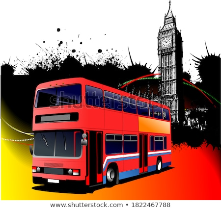 Stock photo: Grunge London Images With Bus Image Vector Illustration